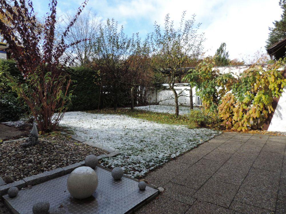 Blick in den Vorgarten und in den Garten mit Pool